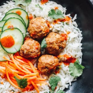 Thai Turkey Meatballs over Ginger Coconut Basmati Rice