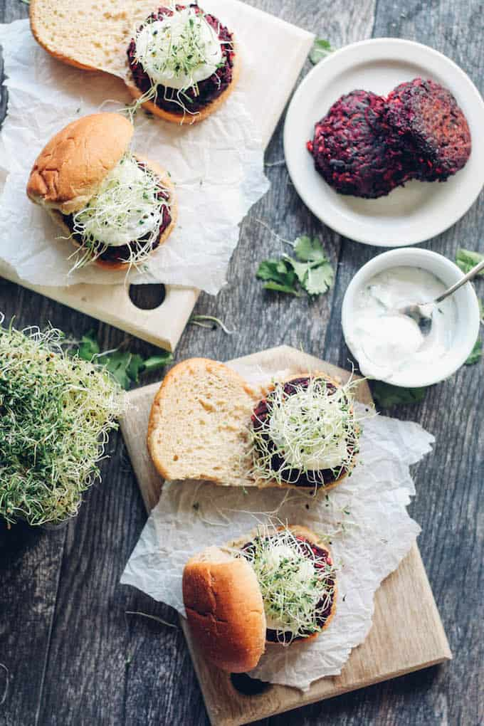 Beet and Carrot Sliders | Destination Delish – hearty and wholesome mini burgers seasoned with chili powder and packed with nutritious beets, carrots, oats and walnuts