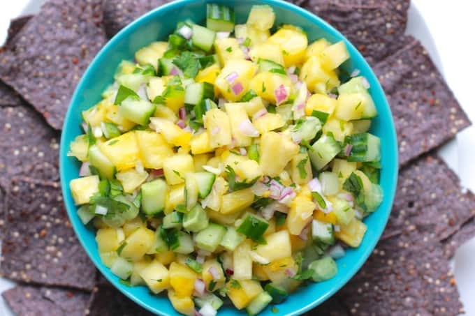 12 Summer Salsas and Salads | Destination Delish – a roundup of the most refreshing and fruity salsas and scrumptious salads that are sure to be a hit at any summer gathering.