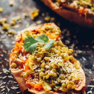 Coconut Lentil Stuffed Sweet Potatoes