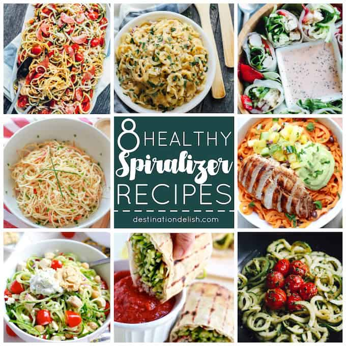 8 Healthy Spiralizer Recipes | Destination Delish - a round up of creative and wholesome dishes with plenty of spiralized vegetables and even fruit!