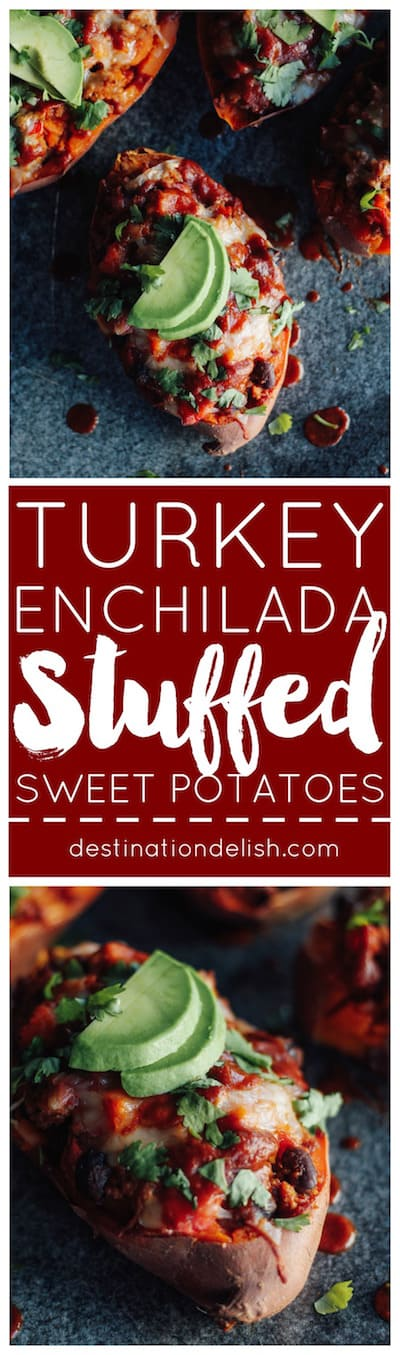 Turkey Enchilada Stuffed Sweet Potatoes | Destination Delish - Saucy southwest flavored ground turkey and sautéed veggies packed inside a sweet potato and topped with gooey melted cheese. An easy and healthy weeknight meal the whole family will love!