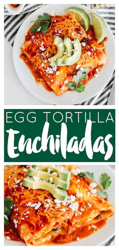 These breakfast enchiladas use baked eggs for the tortilla! Fill them with breakfast sausage and your favorite veggies for a super tasty and unique dish!