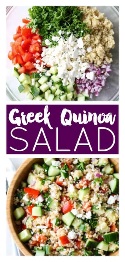 Greek Quinoa Salad | Destination Delish - A super easy and addicting salad packed with fresh veggies and tossed in a tangy vinaigrette dressing! Perfect for summer BBQs and potlucks!