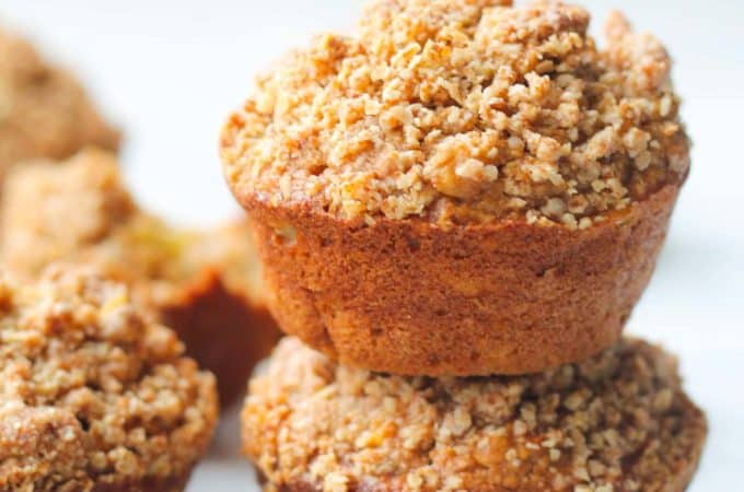 Healthy Apple Cinnamon Muffins | Destination Delish - Soak up the cozy feelings of fall with these flourless muffins made with oats and Greek yogurt and topped with a yummy oat streusel!
