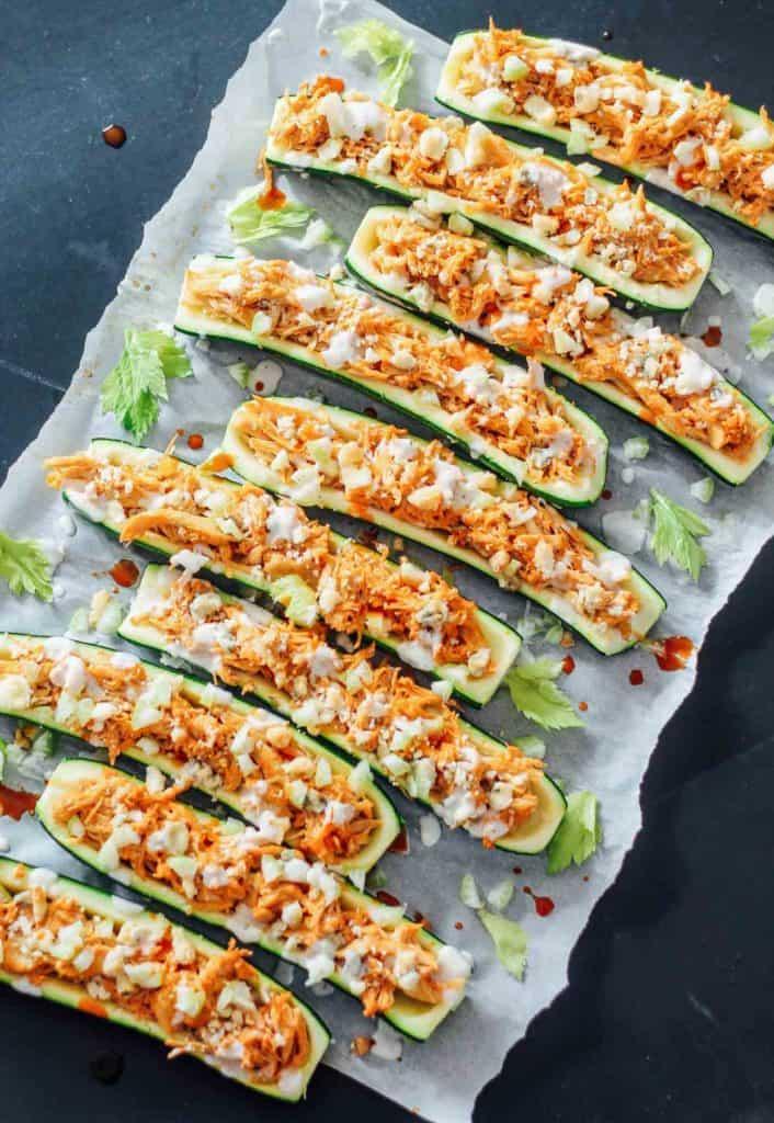 Buffalo chicken zucchini boats on a sheet pan