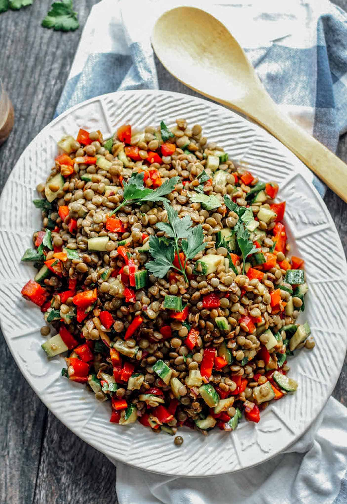 An overhead view of the balsamic lentil salad on a platter